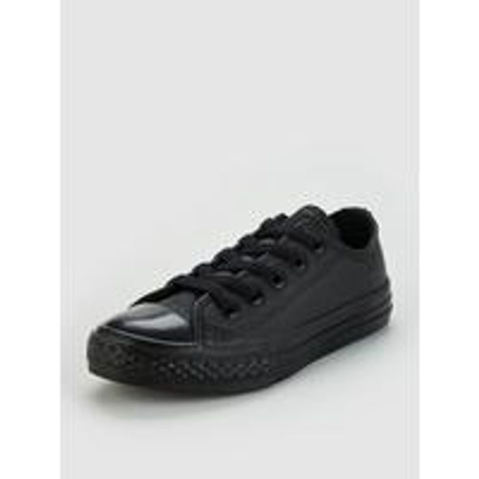 Converse Chuck Taylor All Star Junior Leather Ox Trainers - Black
