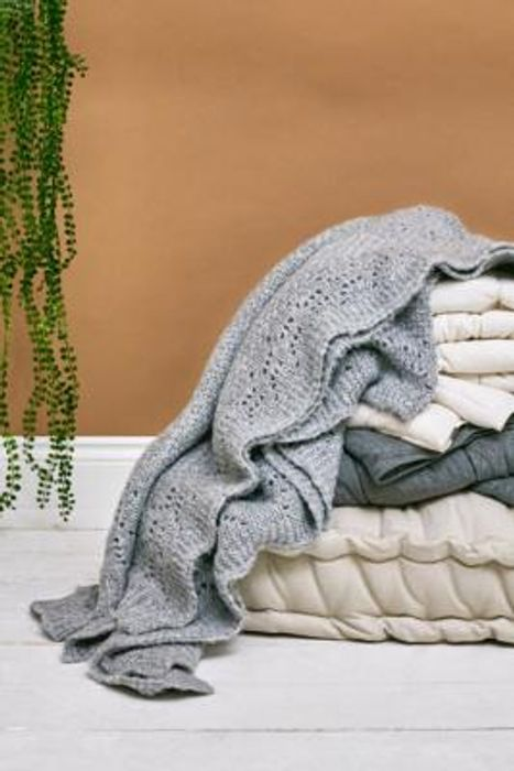 Grey Knit Throw Blanket