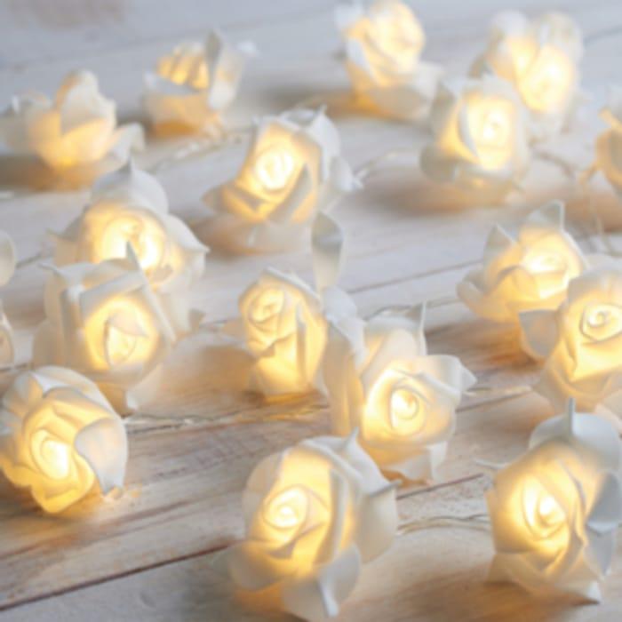 Battery Powered Rose String Lights - White