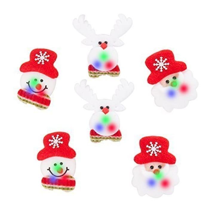 Christmas Festive Felt Light up Badges - 6x