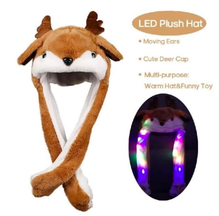 Plush Earflap Animal Hat Deer Cap Moving Ears Toy Costume for Kidsgirls