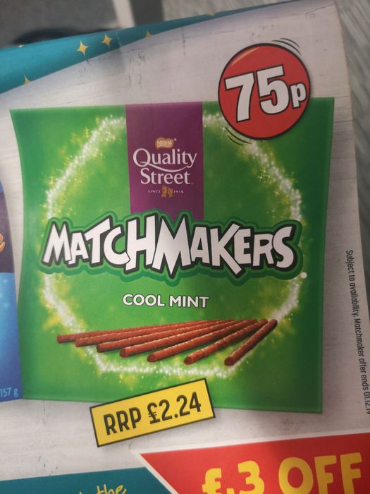 Quality Street Mint & all flavours Matchmakers for £0.75 at Poundland (National)