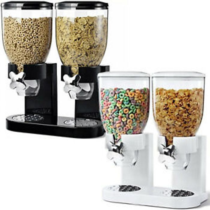 Double Cereal (Or Dry Food) Dispenser - Black or White