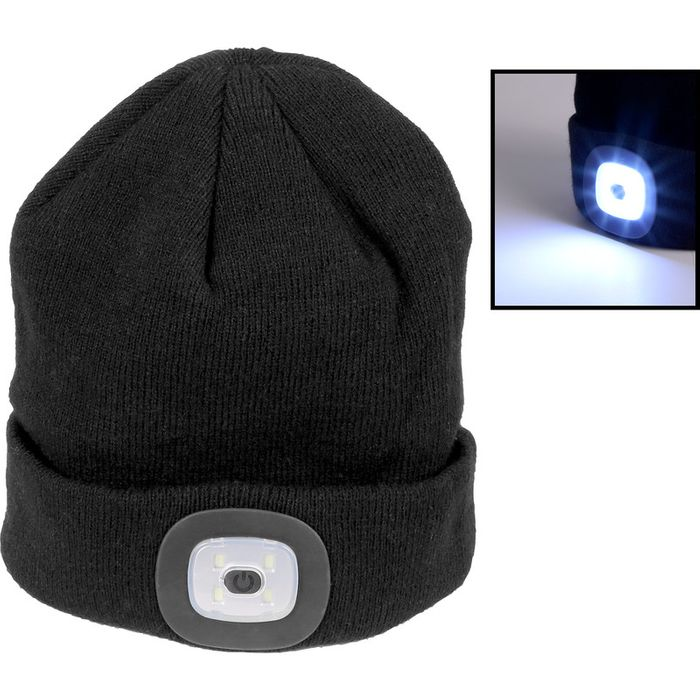 Beanie Hat with Led Head Torch