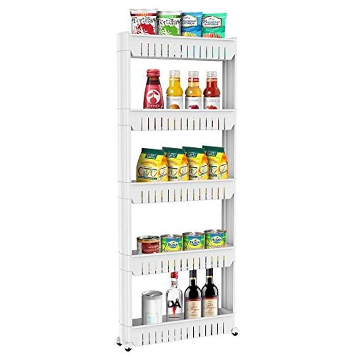 5-Tier Kitchen Bedroom Storage Tower With Wheels