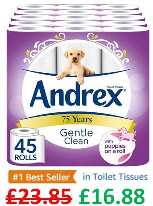 SAVE £6.97 - 45 Andrex Gentle Clean Toilet Rolls - AMAZON #1 BEST SELLER