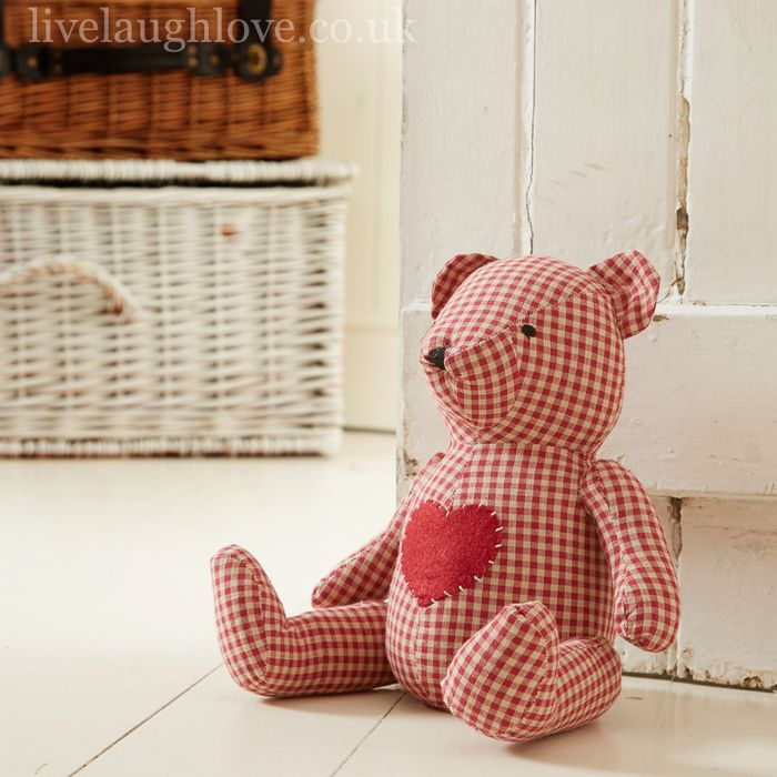 Cheap Red Gingham Bear Door Stop at Livelaughlove Only £6.95!