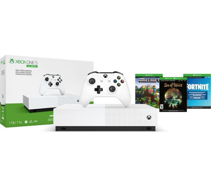 Xbox One S All-Digital + Minecraft, Sea of Thieves, Fortnite & Xbox LIVE Gold