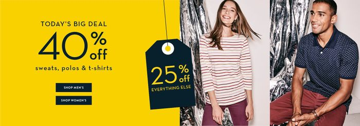 40% off All Polos, Sweats, T-Shirts at CREW CLOTHING