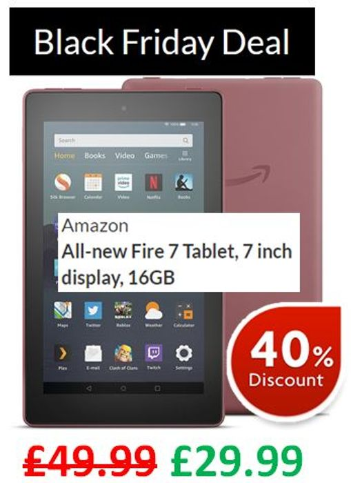 SAVE £20! Amazon All-New Fire 7 Tablet, 7 Inch Display, 16GB