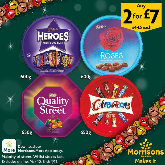 Chocolate Tubs 2 for £7 Cadbury Heroes and Roses , Quality Street & Celebration