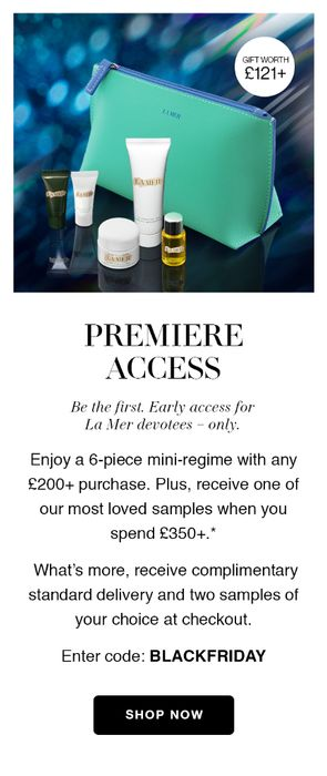 La Mer Black Friday : Free Gift Set worth £120 When You Spend £200