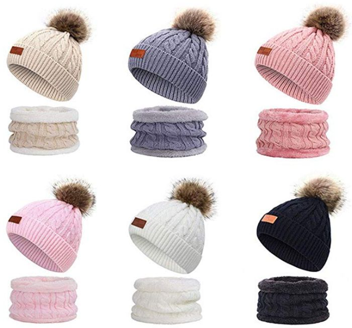 Children Beanie Hats with Two Pom Pom Balls