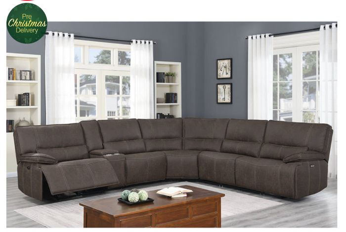 CHEAP! Kuka Parker Fabric Power Reclining Sectional Sofa with Power Headrests