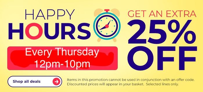 25% off Everything during Happy Hours