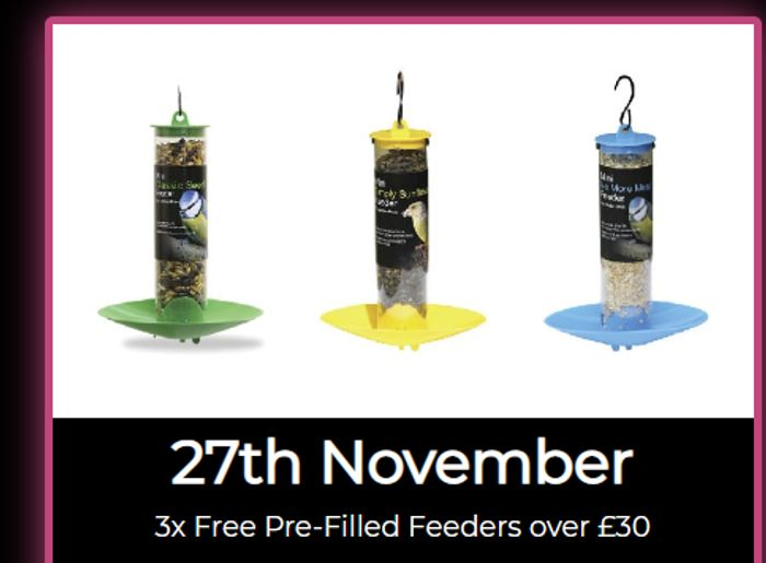 3x Free Pre-Filled Feeders With Orders Over £30