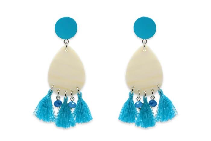Jota Blue Tassel Earrings