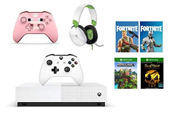 Xbox One S All-Digital + Minecraft Pig Controller + Turtle Beach +Gaming Headset