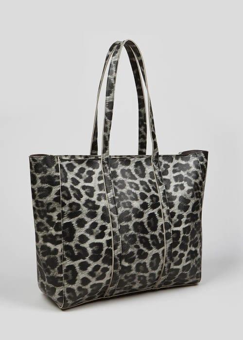 Faux Leopard Print Tote