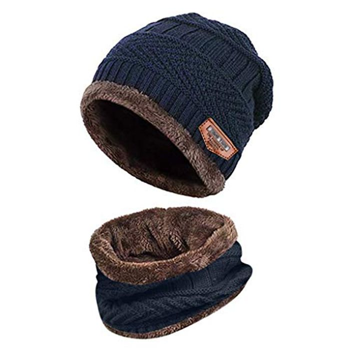 HOOUDO Warm Thermal Knitted Hat and Circle Scarf with Fleece Lining