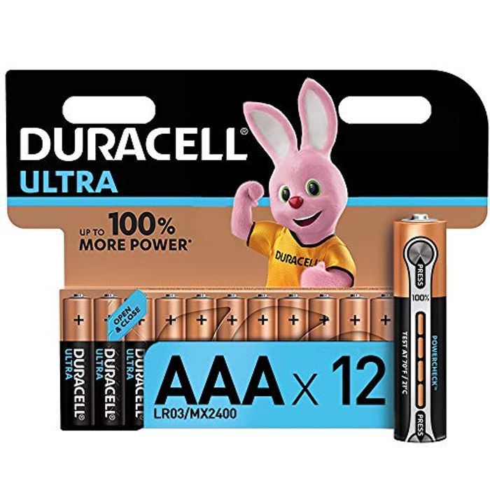 Duracell Ultra AAA Alkaline Batteries, 1.5 v LR03 MN2400, Pack of 12