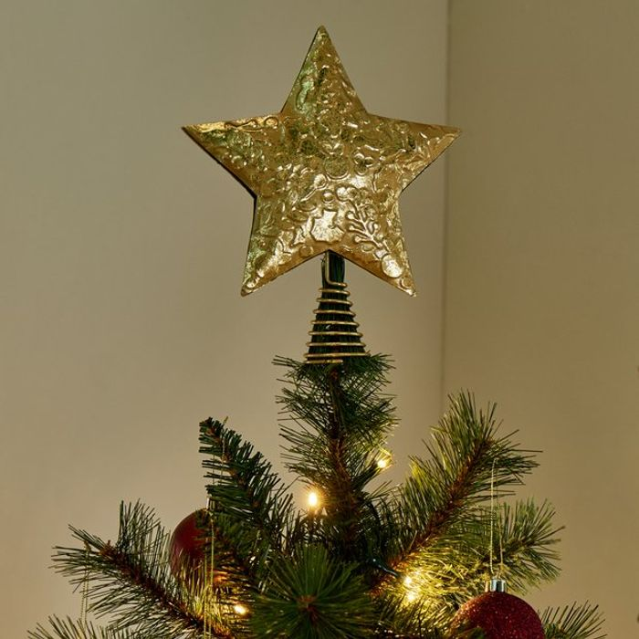 Argos Home Berry Christmas Gold Star Tree Topper