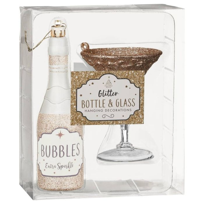 Glass & Bottle Baubles Set - Bubbles