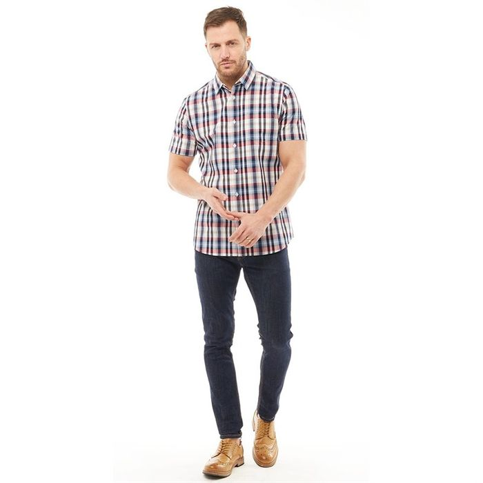 Onfire Mens Yarn Dyed Checked Short Sleeve Shirt Multi Size 36 38