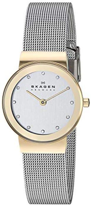 DOTD Best Ever Price! Skagen Ladies Watch Silver Stainless Steel & Gold Case