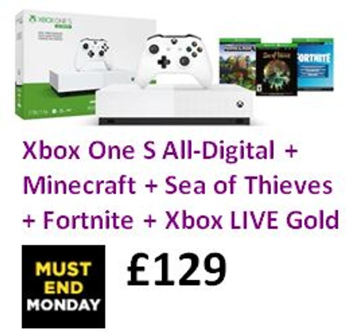 Xbox One S All-Digital + Minecraft + Sea of Thieves + Fortnite + Xbox LIVE Gold