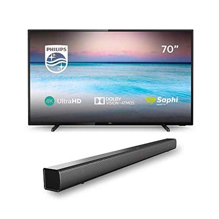 Philips 70PUS6504/12 70-Inch 4K TV with Philips HTL1508/12 Bluetooth Soundbar