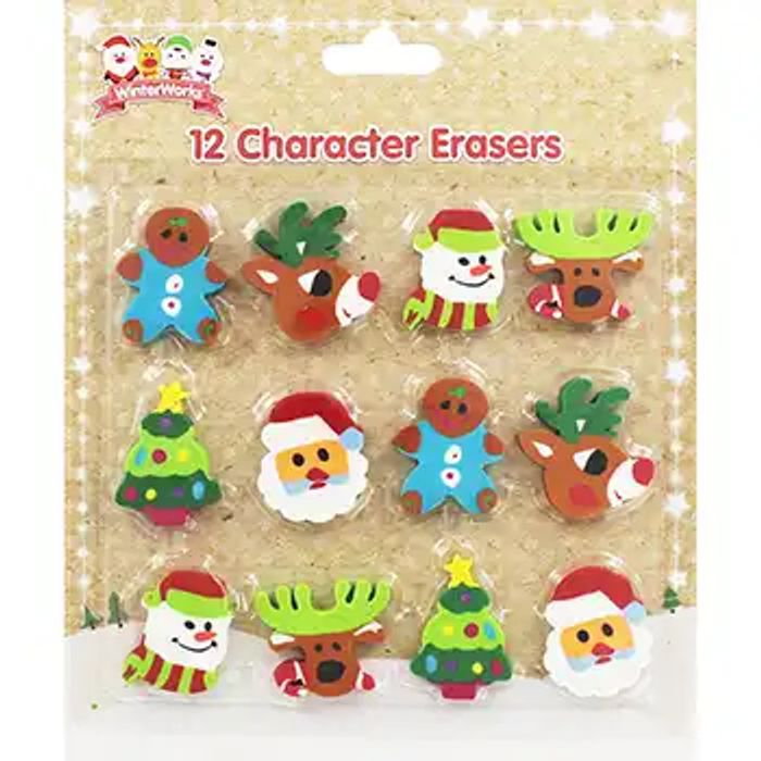12 Christmas Character Erasers