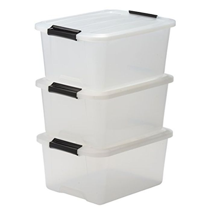 Best Ever Price! Iris Stack and Pull Storage Top Box 15 L, 15 Litres. Set of 3