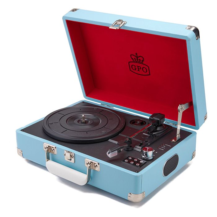 Gpo Retro Portable Vinyl Turntable with Free Usb Stick and Built-in Speakers