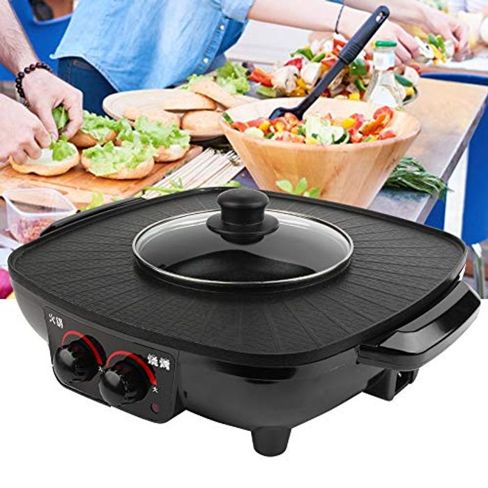Electric Barbecue Grill 2 in 1 Hot Pot UK Plug 220V 39.5 X 34 X 10cm