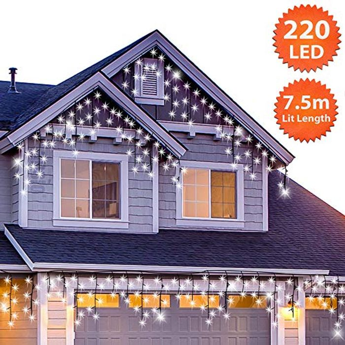 Outdoor Christmas Icicle Lights 220 LED 7.5m