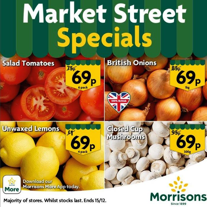 Lemons,Tomatoes, Onions and Mushrooms for Just 69p at Morrisons - INSTORE