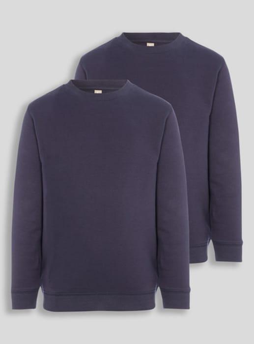 Navy Crew Neck Sweatshirt 2 Pack (3-12 Years)