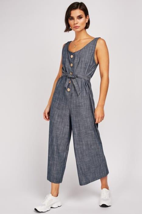 Denim Style Crop Jumpsuit - Only £5