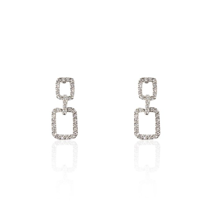 Diamante Square Link Earrings