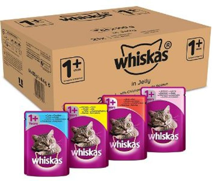 SAVE £6 - Whiskas 1+ Cat Food Mixed Selection in Jelly (84 Pack)