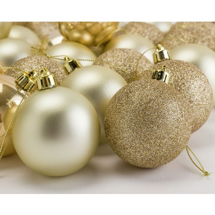 Argos Home Berry Christmas Gold Baubles - 48 Pack
