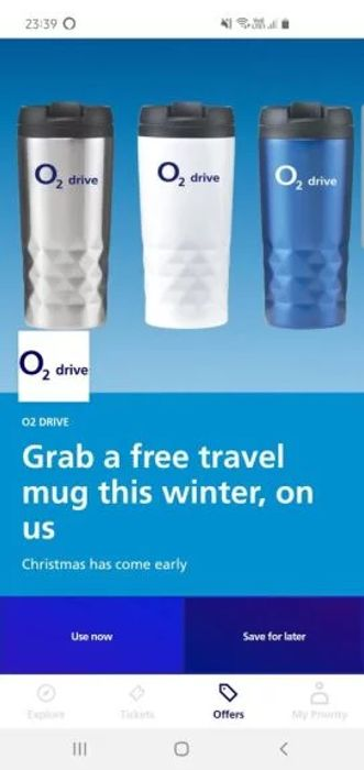 Free Travel Cup for 02 Drive Customers