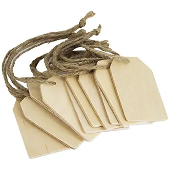 10 Wooden Tags with String