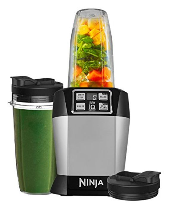 Ninja Blender [BL480UK] Single Serve, Auto-iQ. 1000 W, Black and Silver