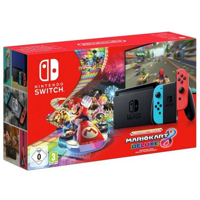 New Model Nintendo Switch Neon Console & Mario Kart 8 Deluxe Bundle £265.99!