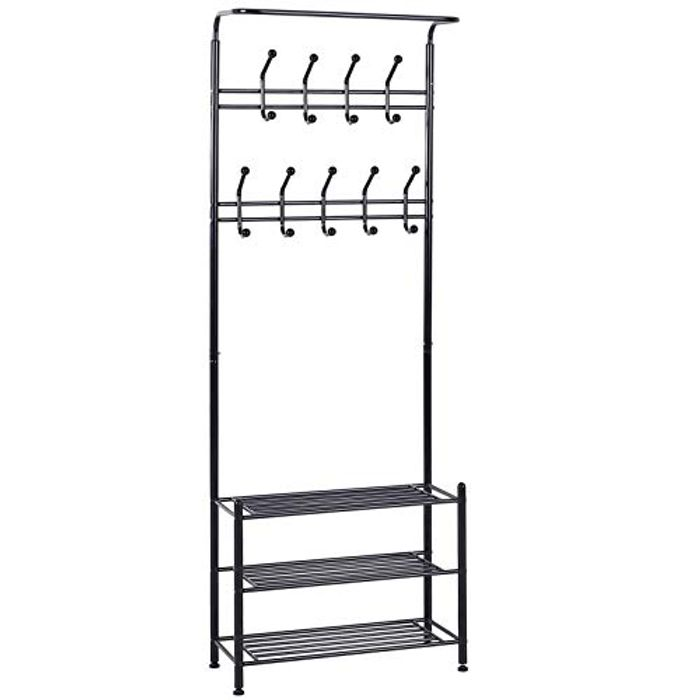 Multi-Purpose Metal 18 Hooks Coat Hook 3 Tier Shoes Rack Stand