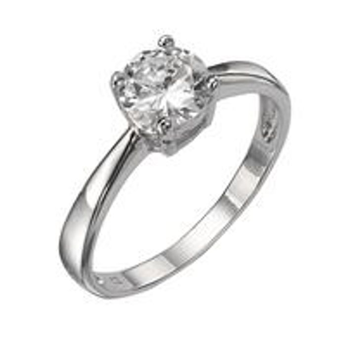 The Love Silver, Sterling Silver White Cubic Zirconia Solitaire Dress Ring