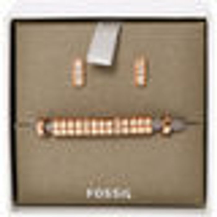 FOSSIL Grey & Rose Gold Tone Bracelet & Earrings Set