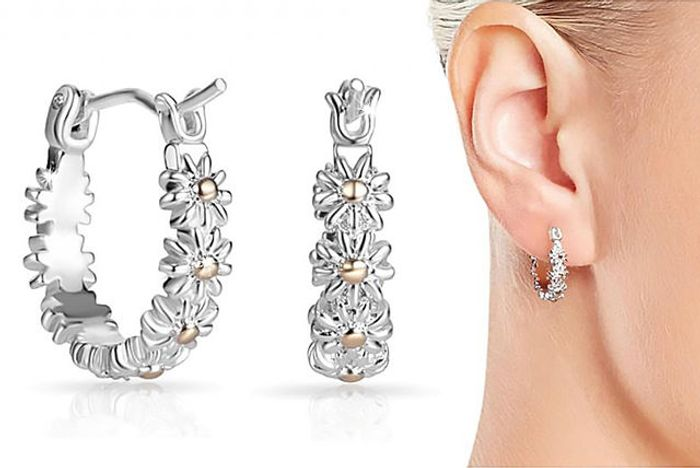 Daisy Hoop Earrings at Wowcher - Only £3.99!